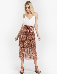 Resistance Tiered Skirt - Cameo Leopard