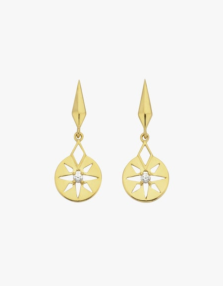 Eclipse Earrings - Gold Plated/White Zircon
