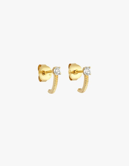 Zoe & Morgan x Superette Bianca Huggies - Gold Plated/White Zircon