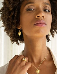 Heart Rays Earrings - Gold Plated