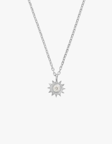 Surya Necklace - Gold Plated/White Zircon