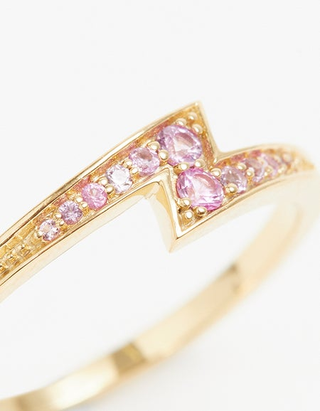 Zoe & Morgan x Superette Electric Love Ring - Gold Plated/Pink Sapphire