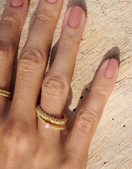 Anchored Stacker Ring - 22k Gold Plated/Pink Tourmaline